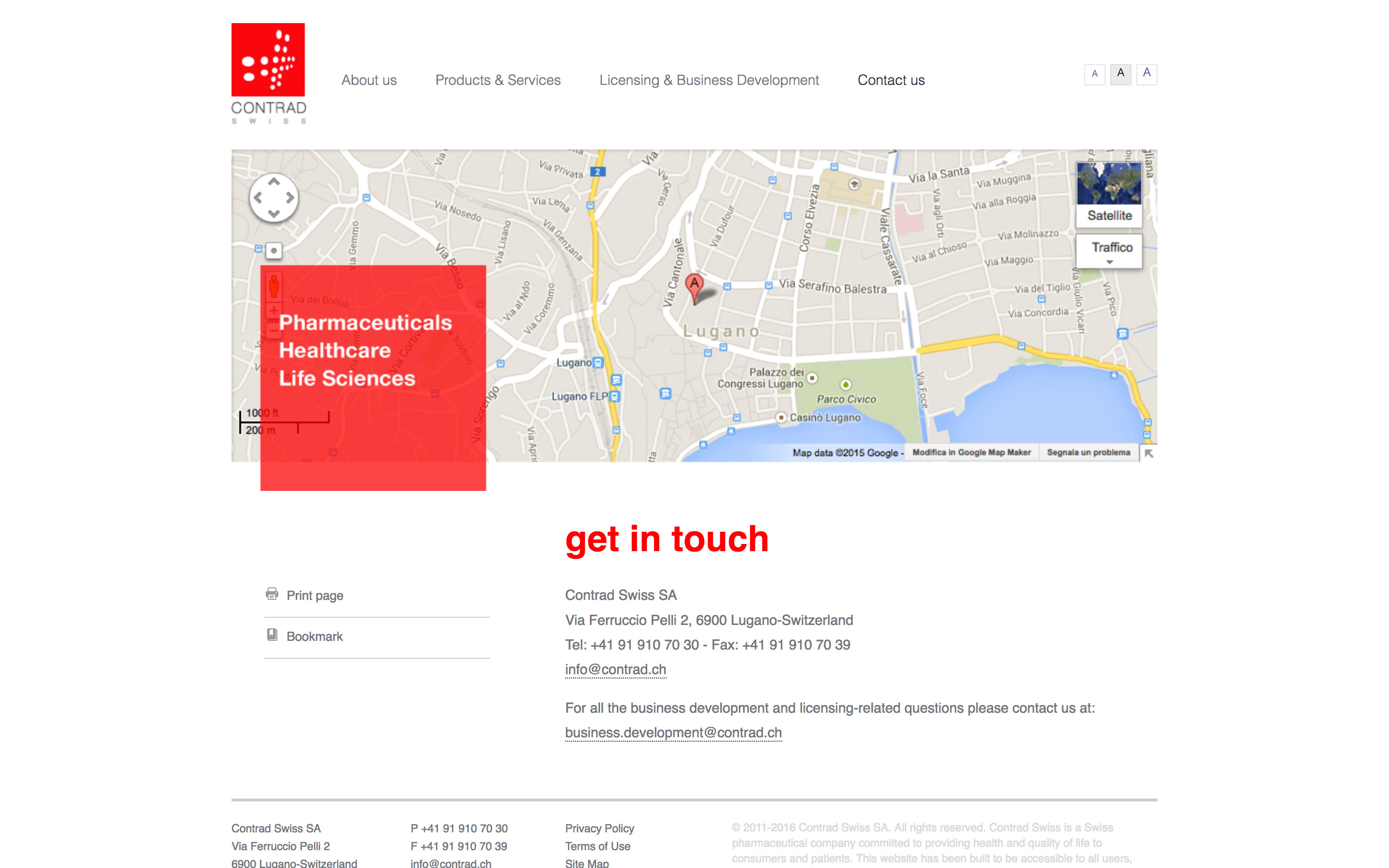 Screenshot of website designed for Contrad